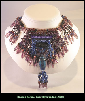 Swarovski Purple Blue Lampwork Large Necklace