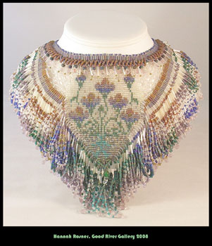 Large Floral Glass Seed Beaded Beadwoven Blue Green Necklace Collar