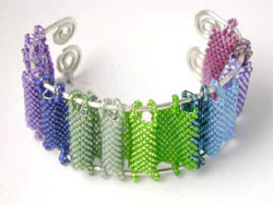 Hannah Rosner Peyote Stitch Rainbow Bead Pattern Cuff Bracelet Instructions Kit